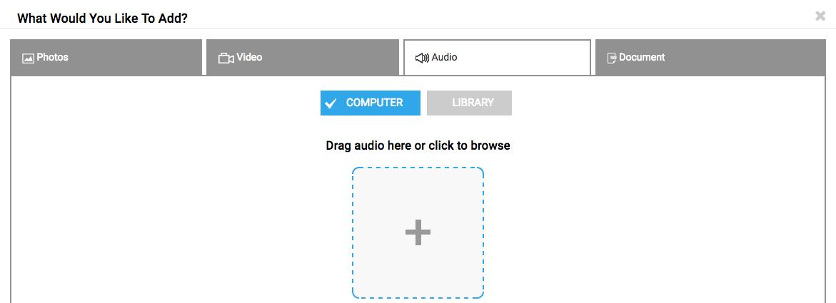 Audio in Media upload