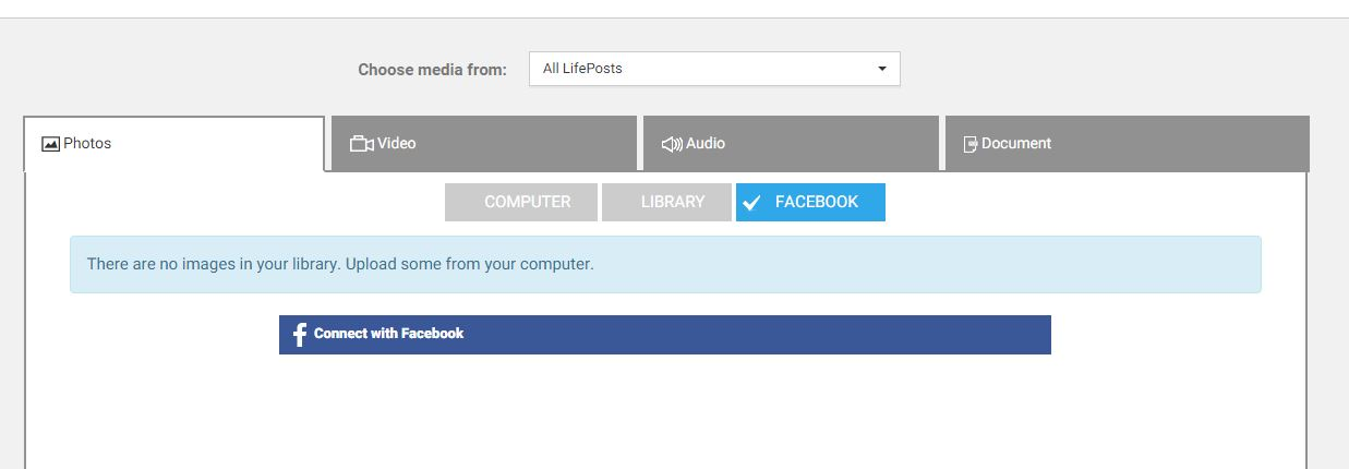 Click Connect with Facebook to import photos from your Facebook account.